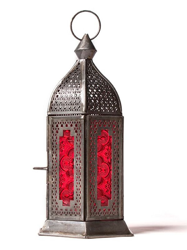 Lanterna Indiana p/ Velas Vidro Vermelho 28cm