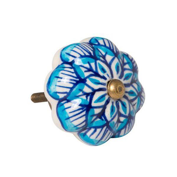 Puxador de Móveis em Cerâmica - Azul