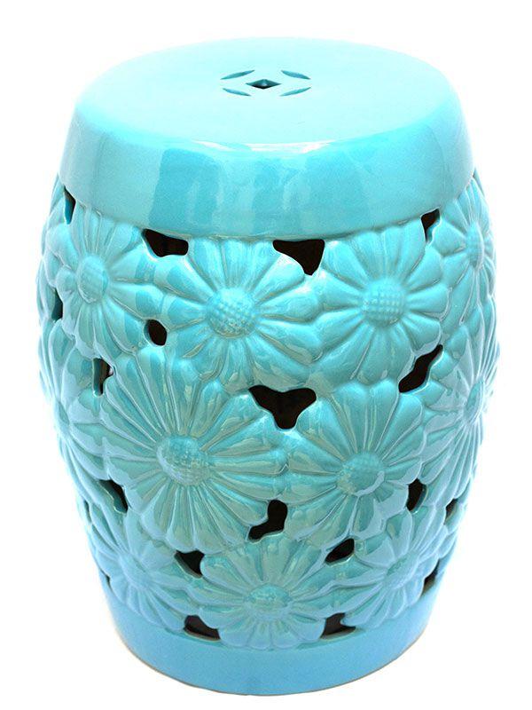 Garden Seat Floral Azul Turquesa