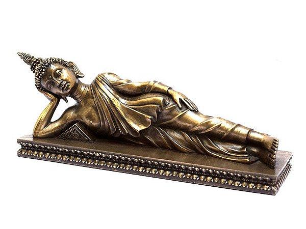 Escultura Buda Deitado Bronze