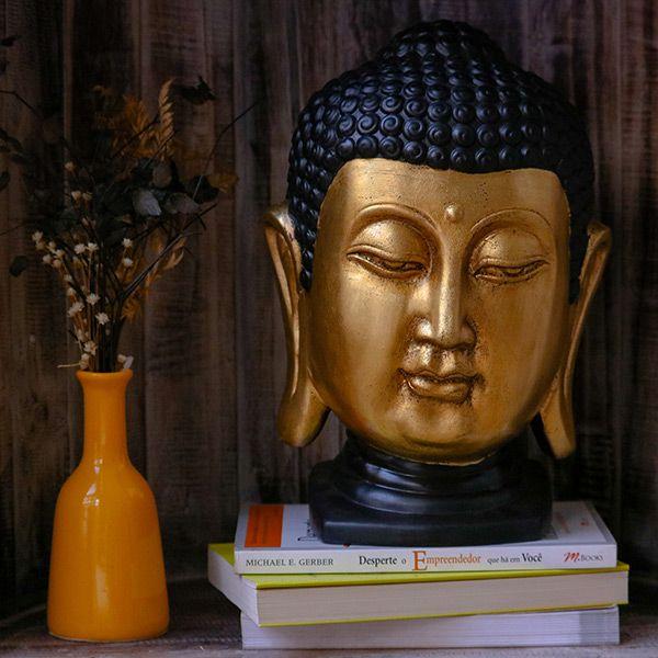 Escultura Cabeça Buddha Gold