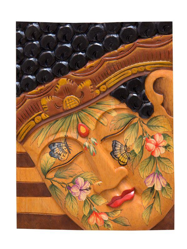 Painel em Madeira Buda Colorido - Bali