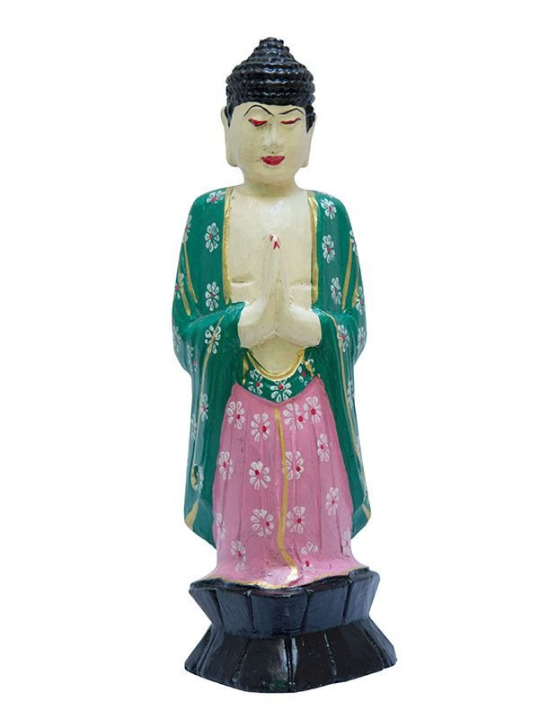Escultura Buda Orando Colorida 30cm