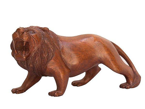 Escultura Leão em Madeira - Bali