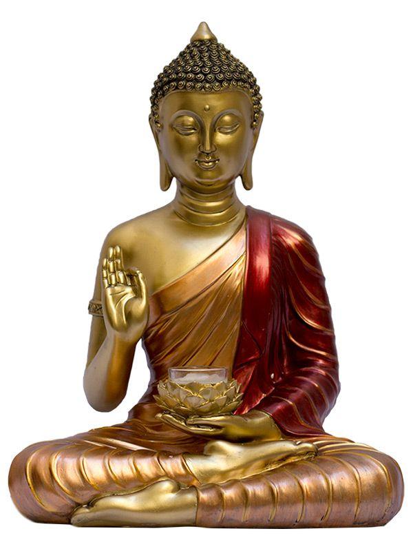 Escultura Buda Gold c/ Porta Vela