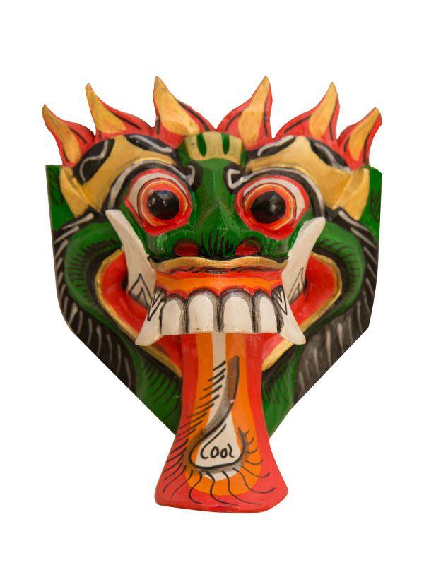 Máscara Barong em Madeira 20x13cm