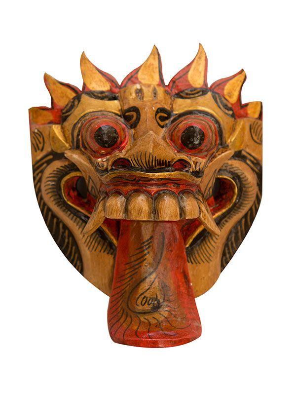 Máscara Decorativa Barong em Madeira 20cm