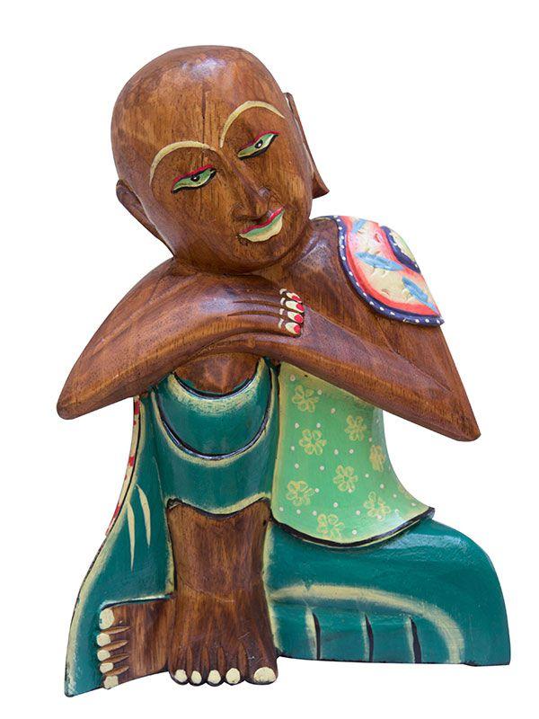 """Escultura Buda """"Shaolin"""" em Madeira 30cm"""