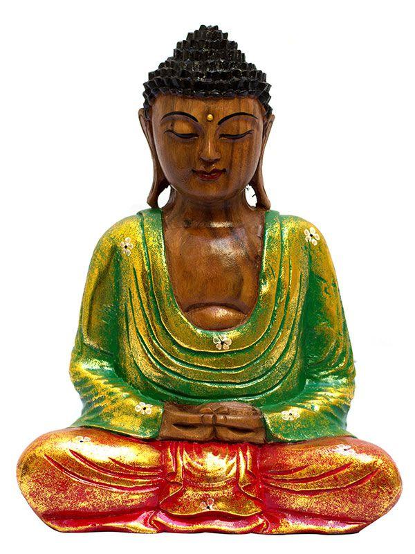 Escultura de Buda em Madeira Colorida 32cm