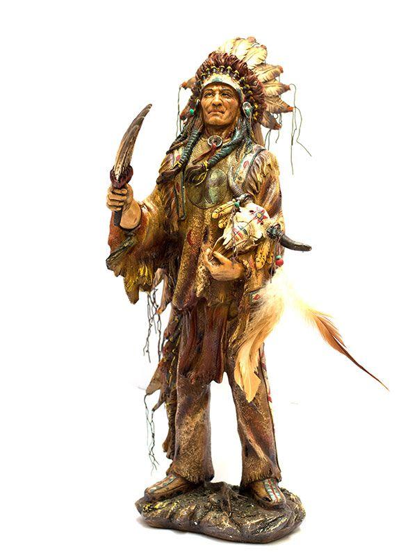 Índio Sioux em Resina 53cm
