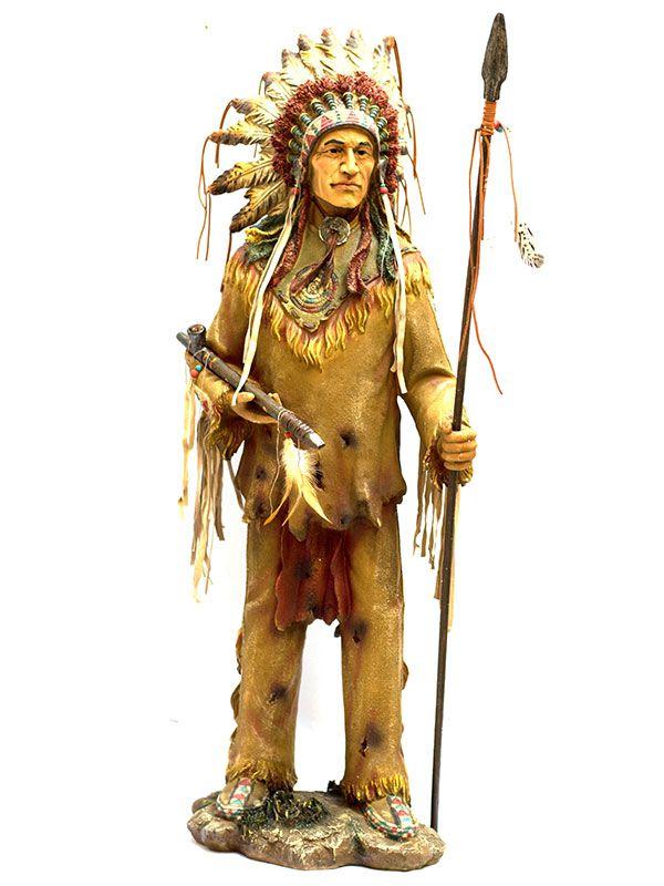 Escultura Realista Índio Sioux 100cm