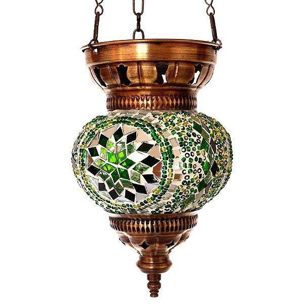 Luminária Turca  Mosaico Verde