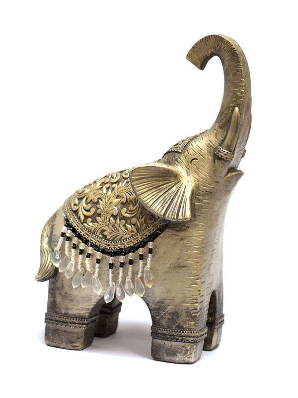 Escultura Elefante em Resina Prata 27cm
