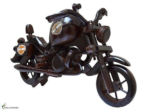 Escultura Moto Harley Davidson em Madeira- Arte Bali 22x33cm