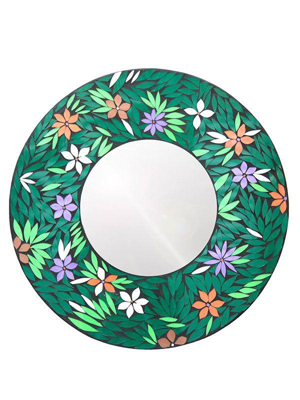 Espelho Redondo Mosaico Flores 60cm