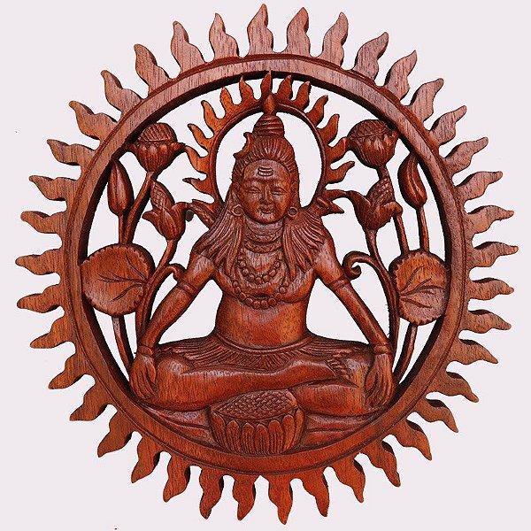 Mandala Shiva em Madeira 30cm - Bali