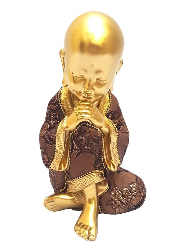 Escultura Monge Budista Gold Relax