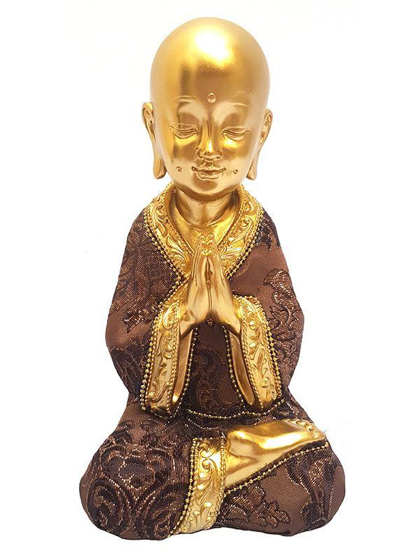 Escultura Monge Budista Gold Orando