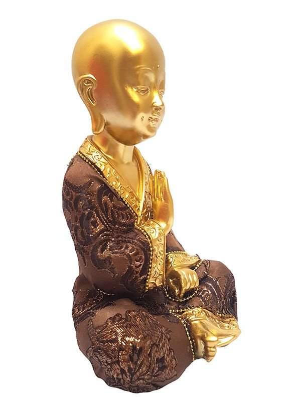 Escultura Monge Budista Gold 20cm