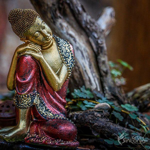 Escultura Buda Relax em Resina