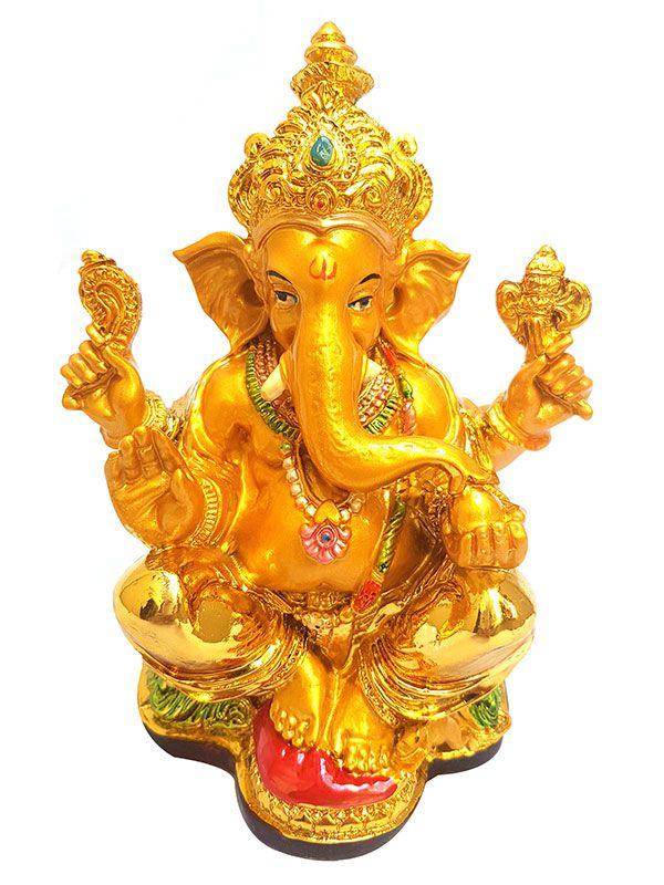 Escultura Deus Ganesha Dourado