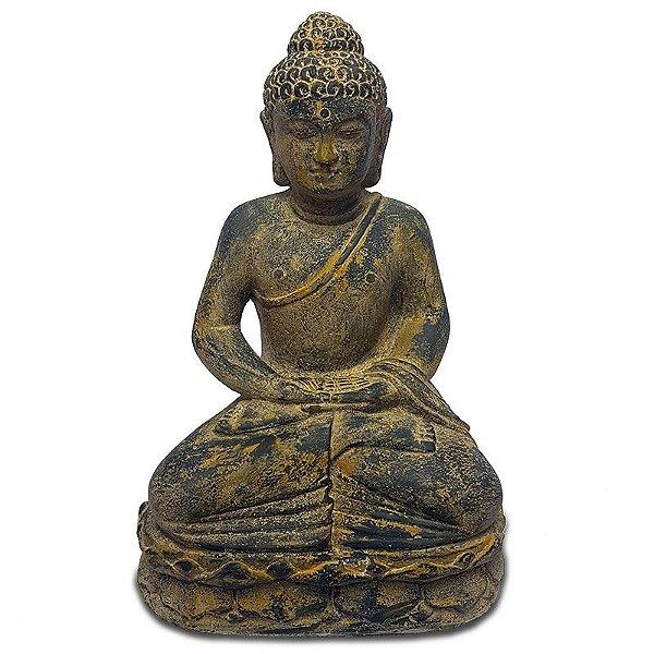 Escultura Buda em Pedra Antique 50cm - Bali