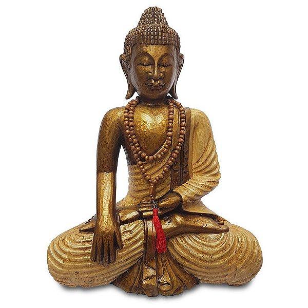 Escultura Buda Madeira Albizia 50cm - Bali