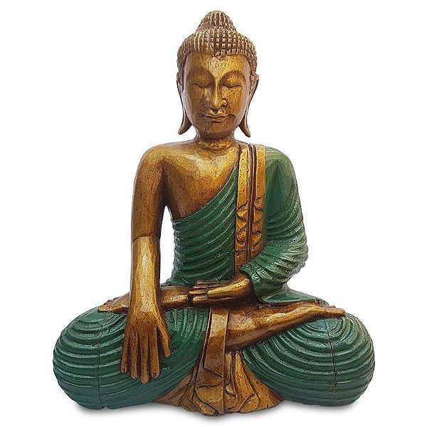 Escultura Buda 50cm Madeira Albizia - Bali