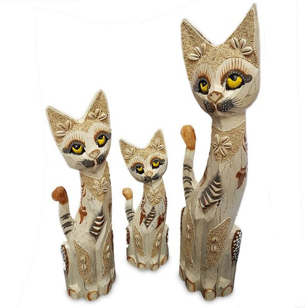 Trio de Gatos em Madeira c/ Areia - Bali