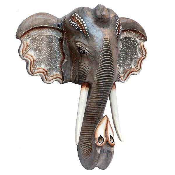 Cabeça de Elefante em Madeira - Bali