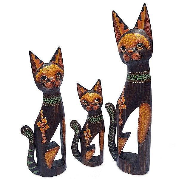 Trio de Gatos 100/80/60cm em Madeira