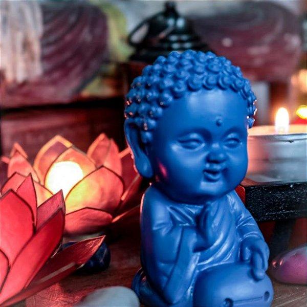 Estátua Monge Budista Azul