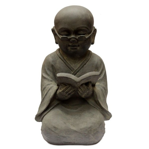 Escultura Monge Budista Leitor 45cm