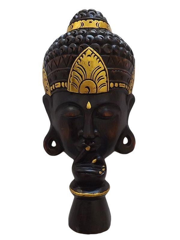 Máscara do Silêncio Buda em Madeira Teca c/ Dourado 50x23cm