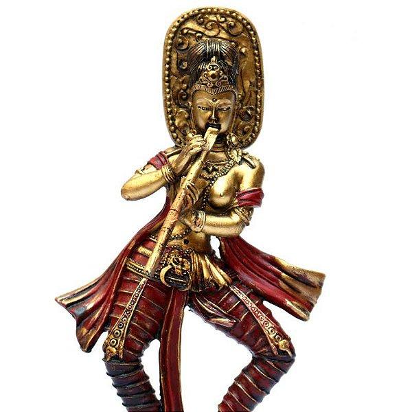 Estátua Dourada Hindu Krishna em Resina