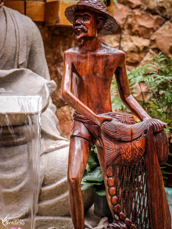 Escultura Pescador de Bali 80cm