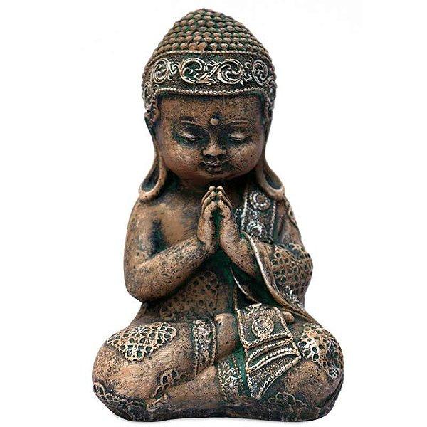 Escultura Monge Budista em Pedra