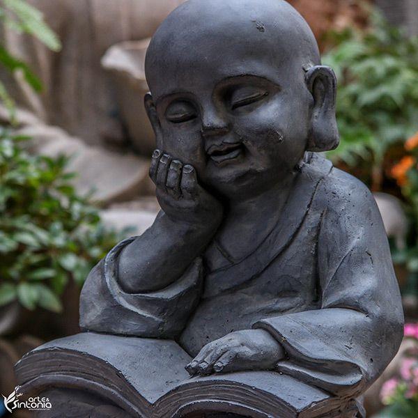 """Buda """"Lendo e Refletindo"""" 36cm"""