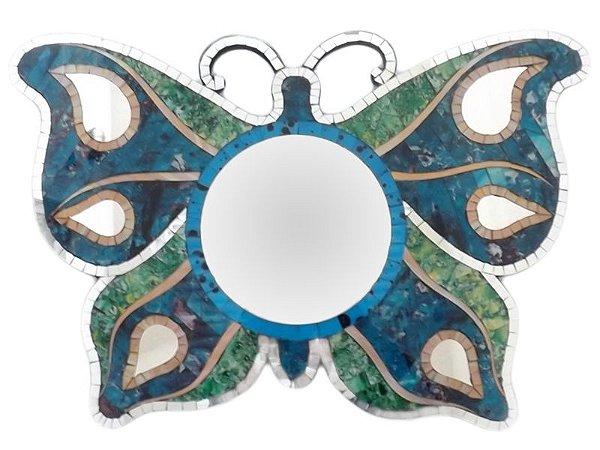 Espelho Artesanal em Mosaico Borboleta Colorida Bali 40x60cm