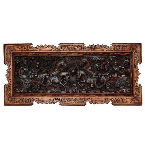 Painel Deuses Hindu Entalhados 53x118cm