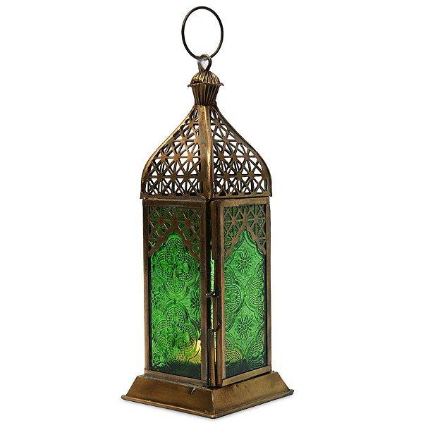 Lanterna Indiana Verde e Dourada