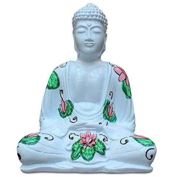 Buda Em Resina Colorido C/ Flores