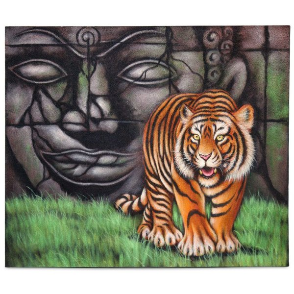 "Tela Bali ""Buda e o Tigre"" 100x120cm"