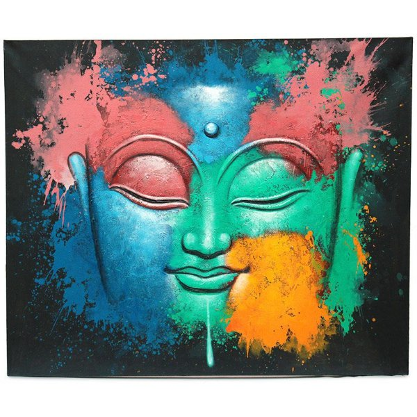 """Tela """"Colorindo Buda"""" Pintada A Mão"""