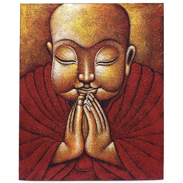 Tela Buda Orando Pintada à Mão   Bali