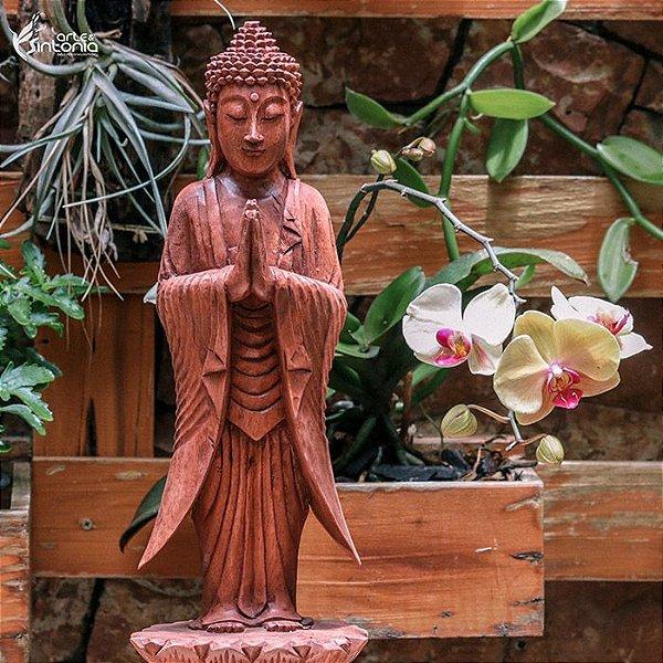 Escultura Buda De Pé Gratidão 40cm