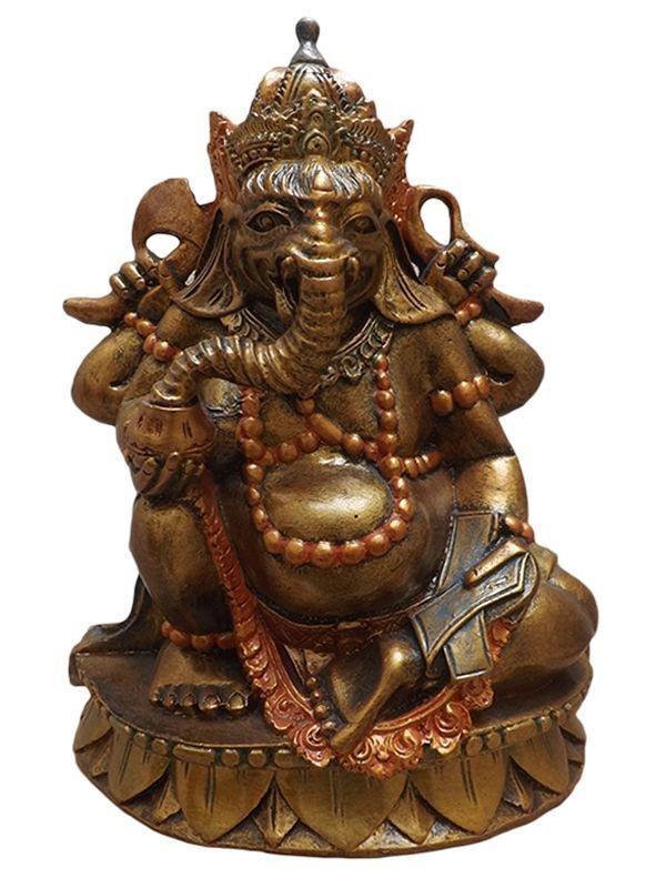 Escultura de Bali Deus Ganesh em Resina p/ Decoração 30x23cm