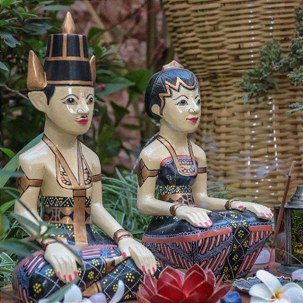 Esculturas Casal Balinês Madeira
