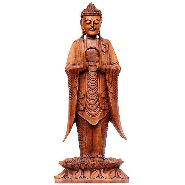 Escultura Buda Zen Entalhado 100cm