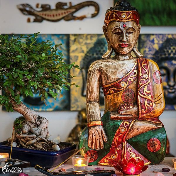 Escultura Buda Color Entalhado 50cm